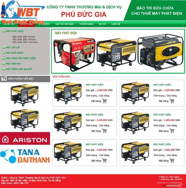 Mẫu thiết kế website bán máy phát điện