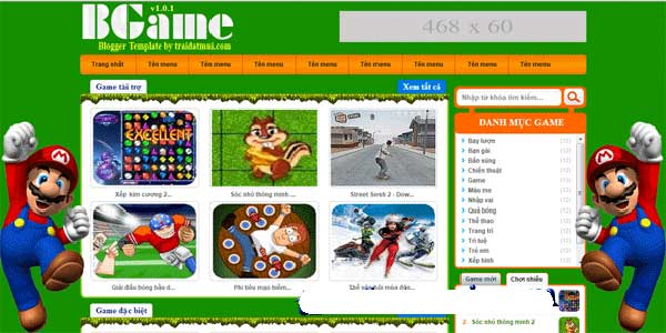 thiết kế website game