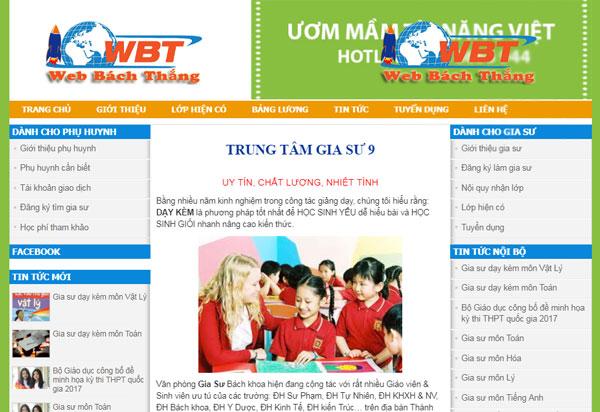 Dịch vụ thiết kế website gia sư chuyên nghiệp chuẩn seo chuẩn di động